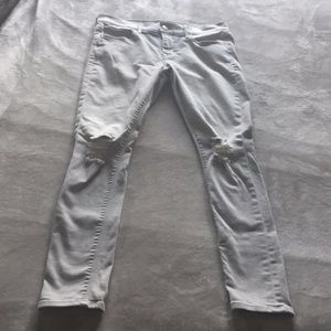Express 8 Gray Wash Supersoft Legging Ripped Jeans